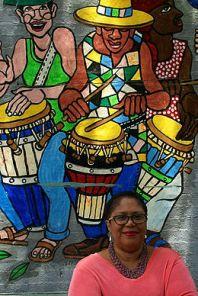 In front of Manny Vega's bongoseros
